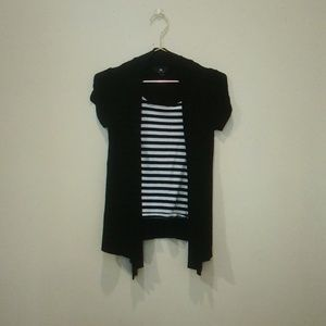 Black Striped Blouse With Attached Cardigan